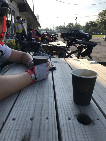 1.5 mile ride, coffee stop in Ohio.