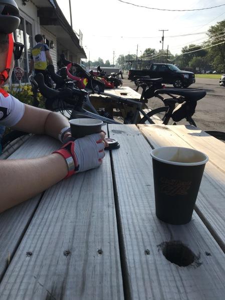 1.5 mile ride, coffee stop in Ohio.