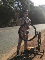 Day 67 -- Jesse's FIRST FLAT of the ride.